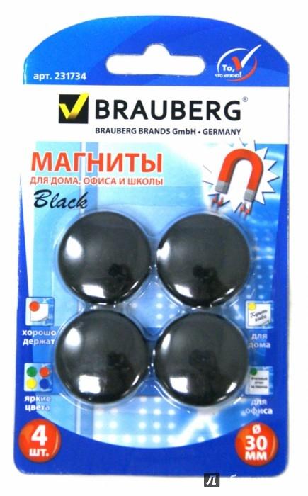 Иллюстрация 1 из 7 для Магниты (4 штуки, диаметр 30 мм, черные) (231734) | Лабиринт - канцтовы. Источник: Лабиринт