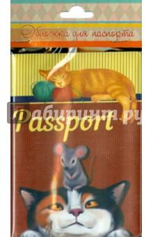 """Обложка для паспорта """"Кот с мышкой"""" (37728)"""
