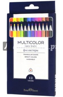 "Фломастеры ""Multicolor Easy Pack"" (12 цветов, трехгранные) (32-0019) Bruno Visconti"
