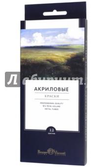 """Краски акриловые """"Premium"""" (12 цветов, 12 мл) (70-0013)"""