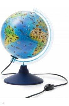 Глобус детский Зоогеографический с подсветкой (d=210 мм) (Ке012100208)