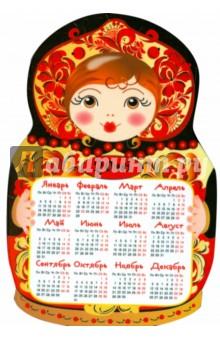 Календарь-магнит. 2016 Матрешка. Хохлома (вырубка).