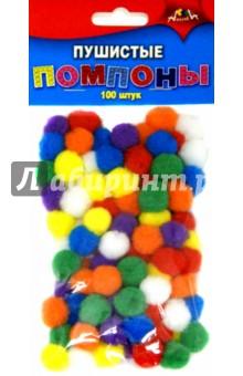 Пушистые помпоны (100 штук, 7 цветов) (С2576-01), АппликА, Сопутствующие товары для детского творчества  - купить со скидкой