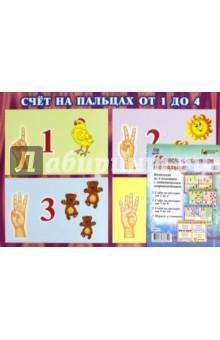 """Комплект плакатов """"Играем и считаем на пальцах"""". 4 плаката с методическим сопровождением. ФГОС"""
