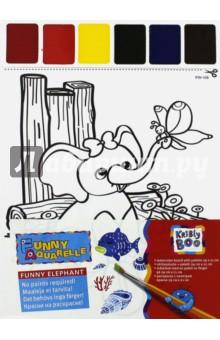 Набор для раскрашивания акварелью Слоненок и бабочка (58569) kribly boo набордляраскрашивания