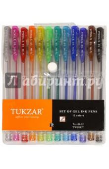 Набор ручек гелевых суперметаллик с блестками, 12 цветов (TZ 144-12) tukzar tukzar набор шариковых ручек  10 цветов