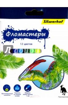 """Фломастеры """"Динозавры"""", 12 цветов (867201-12) Silwerhof"""