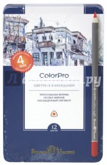 Карандаши цветные ColorPro в металлической коробке (12 цветов) (30-0040) блокноты bruno visconti блокнот а5 megapolis flex