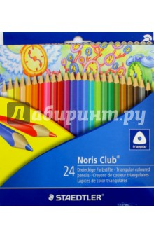 Набор карандашей цветных Noris Club, 24 цветов (1270C24) набор цветных карандашей maped color peps 12 шт 683212 в тубусе подставке