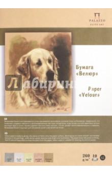 """Папка с цветной бумагой, 10 листов, 5 цветов, 250*350 """"Velour"""" (П-5221)"""