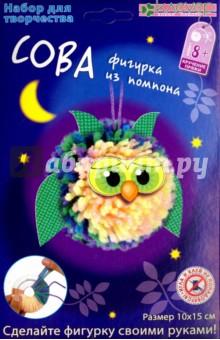 Купить Набор для детского творчества Сова из помпона (АШ 01-204), Клевер, Изготовление мягкой игрушки