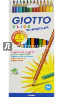 Карандаши полимерные, 24 цветов, Elios (275900) емкости полимерные