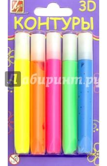 Краски-контуры 3D (5 цветов, флуоресцентные) (23С1438-08), Луч, Сопутствующие товары для детского творчества  - купить со скидкой