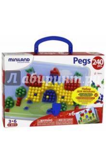 Купить Мозаика PEGS, 240 элементов, 10 мм, 6 картинок (31804), Miniland Educational
