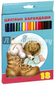 """Карандаши цветные """"Милые пушистики"""" (18 цветов) (BKc_18230) Хатбер"""
