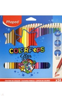 Карандаши цветные COLOR'PEPS, 24 цвета, треугольные (183224) карандаши artberry 6цв треугольные jumbo