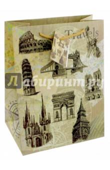 Пакет бумажный Достопримечательности (26х32,4х12,7 см) (44224) пакет феникс бумажный с тиснением старые карты 12 7 36 8 3см 40890