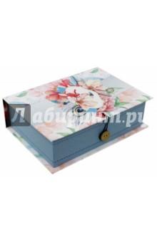 Коробка подарочная ЦВЕТЫ И ПАВЛИНЬИ ПЕРЬЯ (42365) подарочная коробка машинки 20 см х 14 см х 6 см