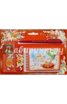 """Подарочный набор """"Красный в цветах"""" (блокнот, закладка, ручка)"""