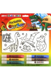 Набор витражных красок с самоклеящимися трафаретами Динозавры (22246) набор витражных красок с витражами мобиле 10 цветов 22250