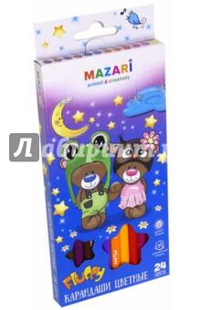 Карандаши Fluffy (24 цвета) (М-6138-24) truecolor цветные карандаши для рисунка 24 цвета