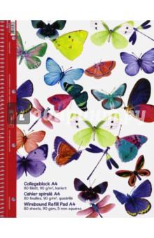 """Тетрадь общая """"Бабочки"""" (80 листов, А4, клетка, на гребне) Brunnen"""