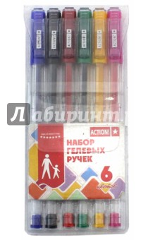 Набор гелевых ручек (6 цветов) (AGP0601) набор гелевых ручек для tatу 6 гел ручек трафарет