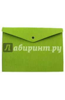 Папка-конверт для докуметров фетровая, на кнопке. Зеленая. А4 (44640) папка конверт а4 на кнопке пластик 0 35мм прозрачный с цв окантовкой