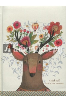 Книга для записей Сказочный олень (80 листов, А6) (КЗБ6802066) записные книжки канц эксмо книга для записей с поролоном 80 листов орнамент разноцветные зонтики