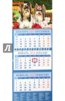 Календарь квартальный на 2018 год Год собаки. Бивер-йоркширские терьеры в саду (14806)