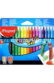 Мелки восковые Color'peps Wax (18 цветов) (861012) карандаши восковые мелки пастель maped карандаши color peps 18 цветов
