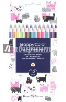 """Карандаши цветные """"HappyColor"""" (12 цветов, трехгранные, в ассортименте) (30-0046)"""