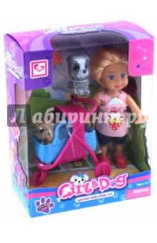 Кукла с собачкой и аксессуарами в коробке (MX0111304) tongde интерактивная обучающая кукла умняша в розовой шубке с планшетом