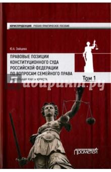 Правовые позиции Конституционного Суда Российской Федерации по вопросам семейного права. Том 1 власенко л налоговые правовые позиции судов теория и практика