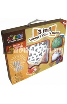 Купить Набор для творчества 3 в 1 (печать, открытка, трафарет) (CH1032), AVENIR, Трафареты
