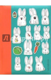 Книга для записей Белые кролики (80 листов, А6, линия) (КЗБ6802402) записные книжки канц эксмо книга для записей с поролоном 80 листов орнамент разноцветные зонтики