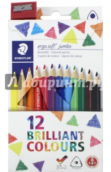 Карандаши цветные Ergosoft Jumbo (12 цветов, трехгранные, точилка) (158C12) карандаши цветные noris club jumbo 12 цветов трехгранные точилка 128nc12p1