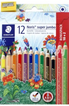 Карандаши цветные Noris Club Super Jumbo (12 цветов, точилка) (129NC12P1) карандаши цветные трехгранные noris club jumbo 6 цветов 128nc6