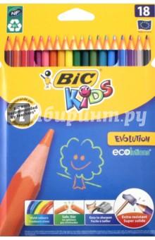Карандаши цветные Evolution (18 цветов) (B937513) bic цветные карандаши evolution новогодний набор 18 цветов