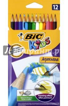 Карандаши цветные акварельные Aquacouleur (12 цветов) (B8575613) bic цветные карандаши evolution новогодний набор 18 цветов