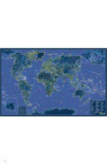 Карта мира. Светящаяся в темноте. В подарочном тубусе