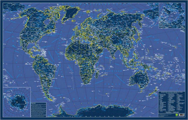 Иллюстрация 1 из 3 для Карта мира. Светящаяся в темноте. В подарочном тубусе | Лабиринт - книги. Источник: Лабиринт