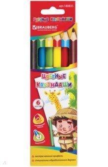 Карандаши 6 цветов BRAUBERG утолщенные, трехгранные (180835) карандаши цветные трехгранные noris club jumbo 6 цветов 128nc6