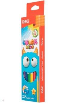 Карандаши 6 цветов COLOR KIDS трехграные (EC00660) карандаши colorrun 24 цветов трехгранные ec00120
