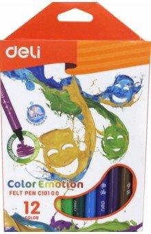 Фломастеры 12 цветов Color Emotion смываемые (EC10100)