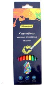 Карандаши 18 цветов, с ластиком Цветландия (134209-18) карандаши 12 цветов ластик цветландия