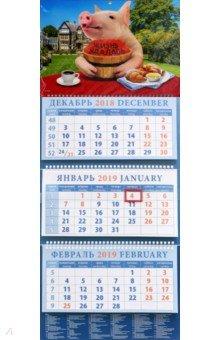 Календарь квартальный на 2019 год Год поросенка. Жизнь удалась (14906)