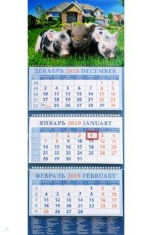 Календарь квартальный на 2019 год Год поросенка. Трое друзей (14908)