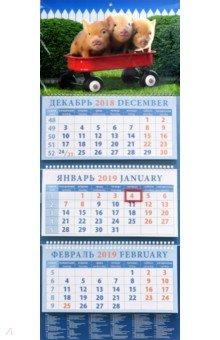 Календарь квартальный на 2019 год Год поросенка. Забавная троица (14914)