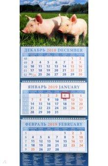 Календарь квартальный на 2019 год  Год поросенка. На лугу (14916)